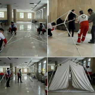 آموزش  برپایی چادر توسط مربی سازمان هلال احمر