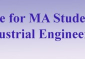 Notice for MA students in Industrial Engineering